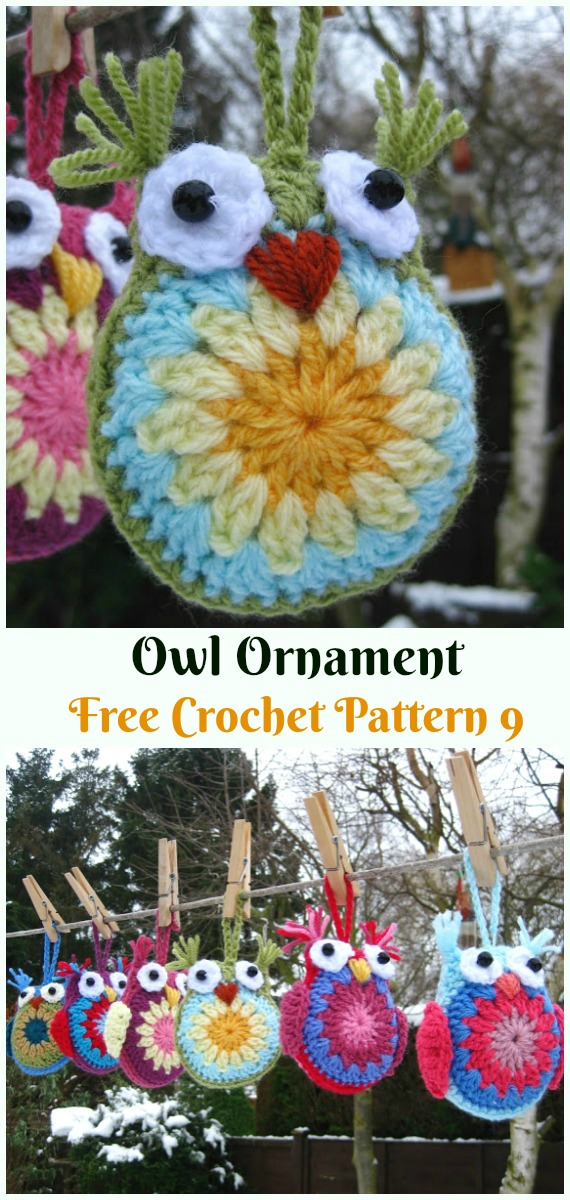 Amigurumi Owl Ornament Crochet Free Pattern - DIY #Crochet; #Christmas; #Ornament; Free Patterns