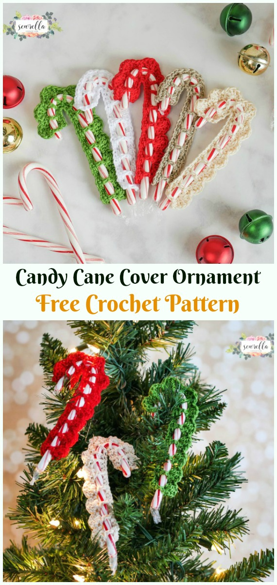 Candy Cane Cover Ornament Crochet Free Pattern - DIY #Crochet; #Christmas; #Ornament; Free Patterns
