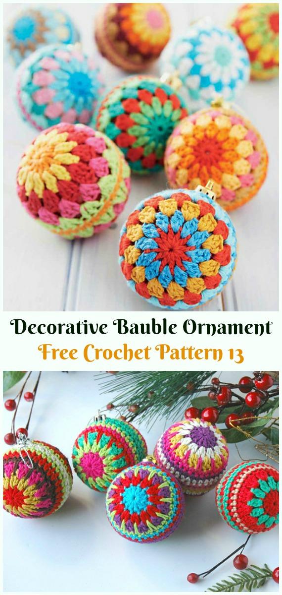 Decorative Bauble Ornament Crochet Free Pattern -DIY #Crochet; #Christmas; #Ornament; Free Patterns