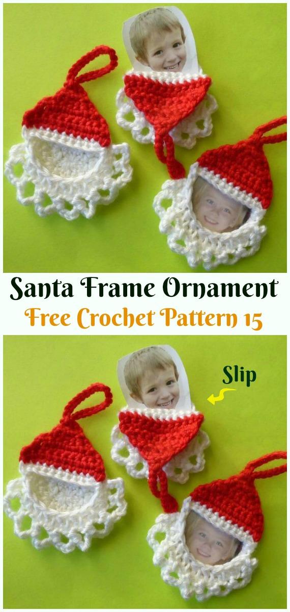 Santa Frame Ornament Crochet Free Pattern Diy Crochet Christmas