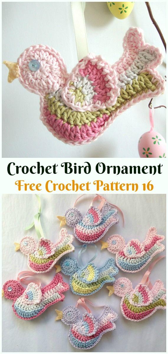 Crochet BirdOrnament Crochet Free Pattern -DIY #Crochet; #Christmas; #Ornament; Free Patterns