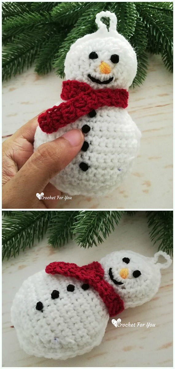 Snowman Ornament Crochet Free Pattern -DIY #Crochet; #Christmas; #Ornament; Free Patterns