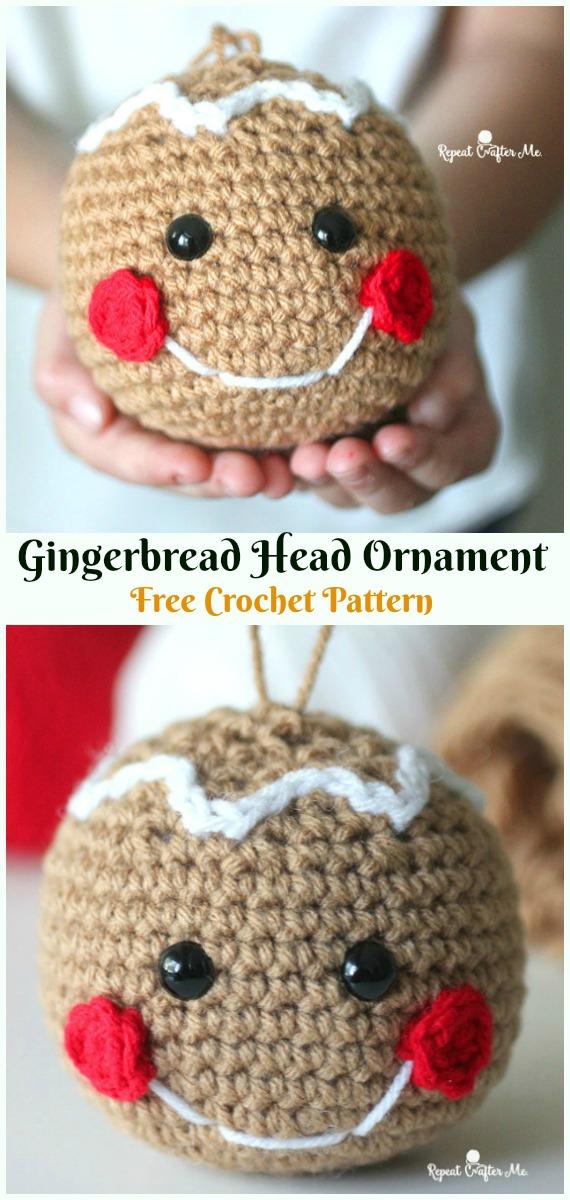 AmigurumiGingerbread Head OrnamentCrochet Free Pattern -DIY #Crochet; #Christmas; #Ornament; Free Patterns
