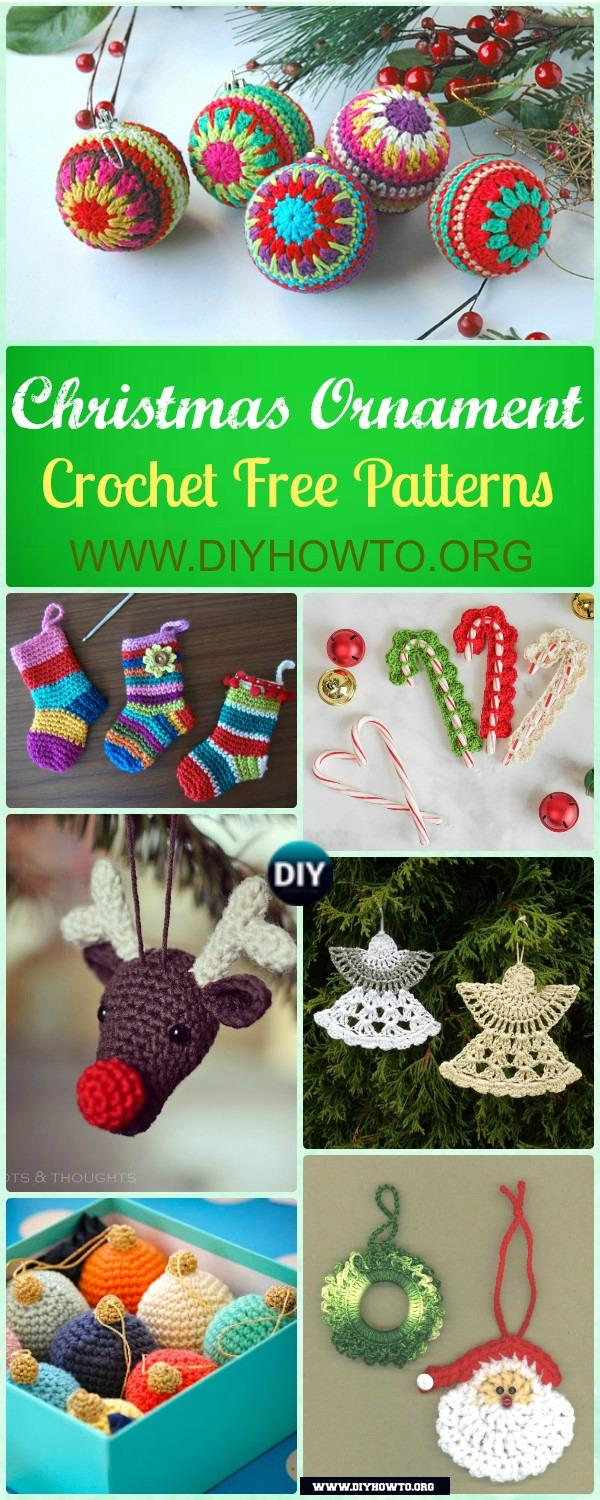 Crochet Bauble Ornament, Reindeer, Christmas Tree, Snowflake, Santa and More Ornament Patterns