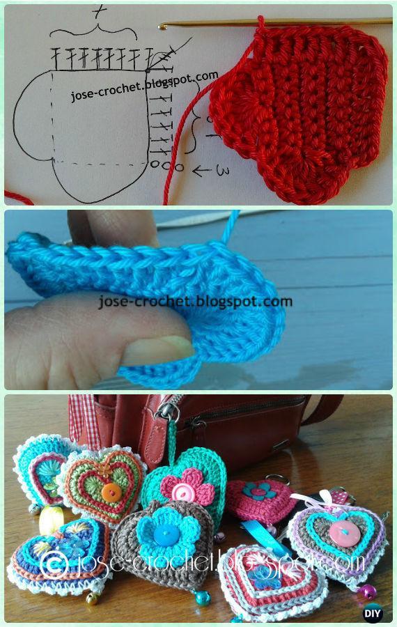 Diy Crochet Heart Keychain Free Pattern Crochet Heart Free Patterns