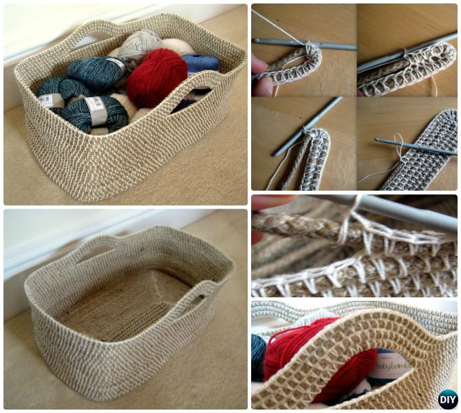 DIY Crochet Rope Storage Basket Free Pattern Instruction