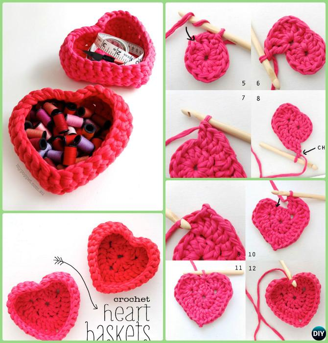 DIY Crochet Heart Storage Basket Free Pattern