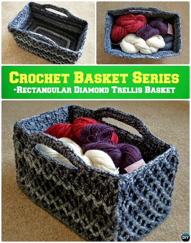 DIY Crochet Rectangular Diamond Trellis Basket Storage Basket Free Pattern