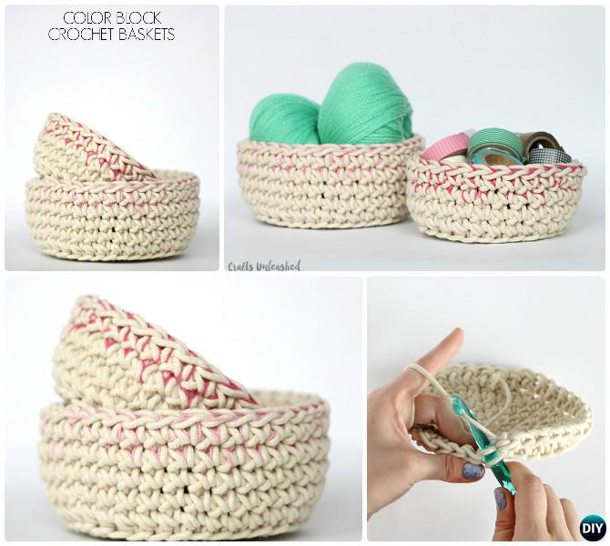 DIY Crochet Color Block Storage Basket Free Pattern