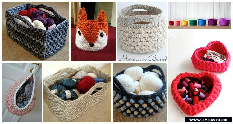 & DIY Crochet Storage Basket Free Patterns Instructions