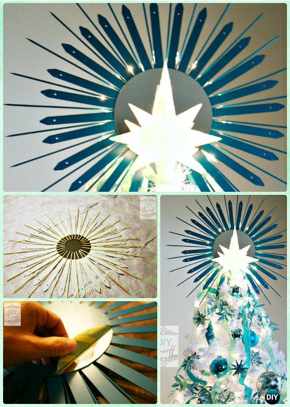 DIY Lighted Starburst Mirror Christmas Tree Topper Instructions-DIY Decorative Mirror Frame Ideas and Projects