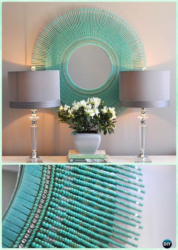 DIY Turquoise Bead Mirror -DIY Decorative Mirror Frame Ideas and Projects