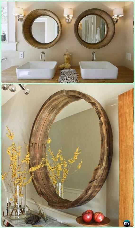 DIY Wine Barrel Mirror Frame Instructions-DIY Decorative Mirror Frame Ideas and Projects