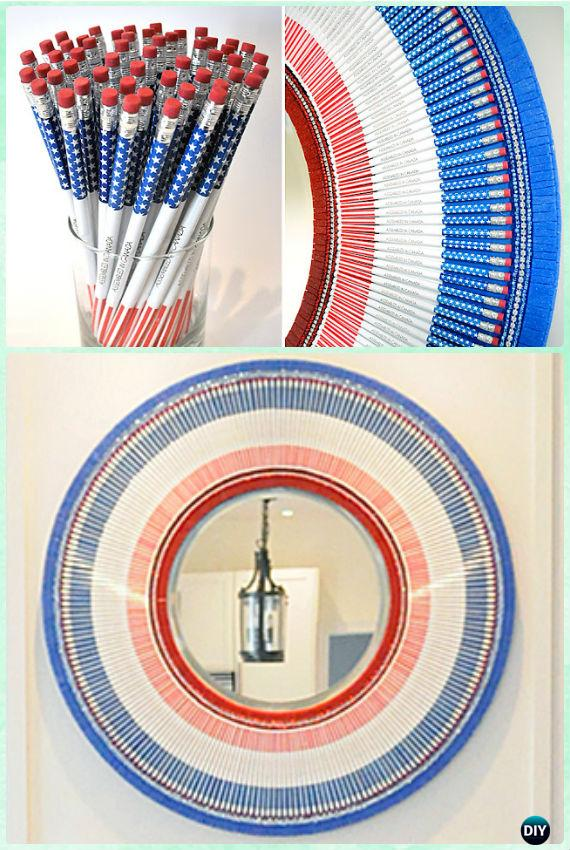DIY Pencil Mirror Frame Instruction -DIY Decorative Mirror Frame Ideas and Projects