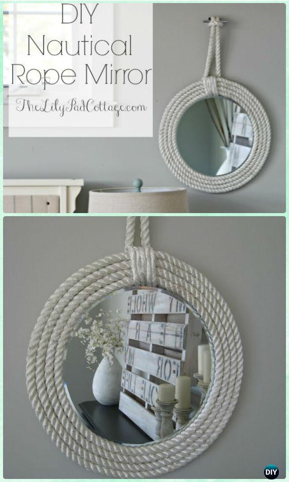 DIY Nautical Rope Mirror Frame Instruction -DIY Decorative Mirror Frame Ideas and Projects