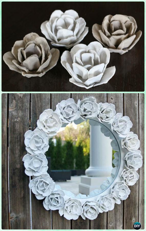 DIY Egg Cartoon Rose Flower Mirror Frame Instruction -DIY Decorative Mirror Frame Ideas and Projects