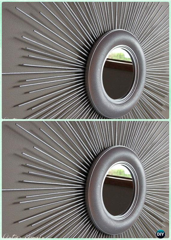 DIY Kabob Skewer Sunburst Mirror Frame Instruction -DIY Decorative Mirror Frame Ideas and Projects