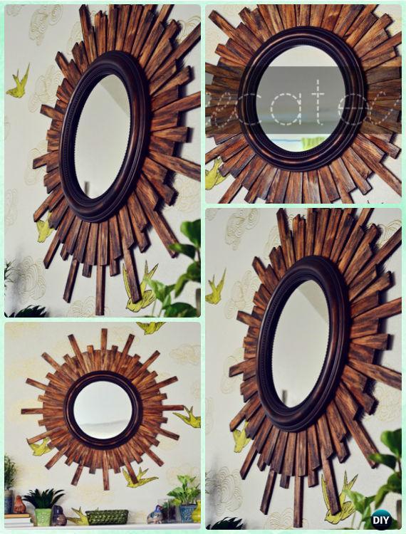DIY Wood Sunburst Mirror Instruction -DIY Decorative Mirror Frame Ideas and Projects