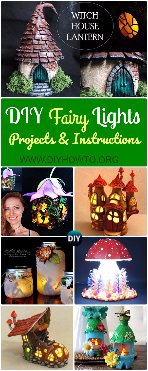 Collection of DIY Fairy Light Projects for home and garden decoration.: fun and whimsical fairy light with recycled jars and plastic bottles