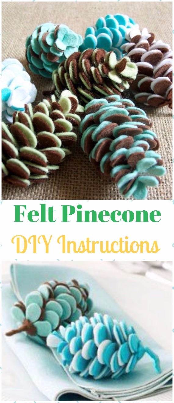 DIY Felt Pine Cones Instructions - DIY Felt Christmas Ornament Craft Projects [Picture Instructions]