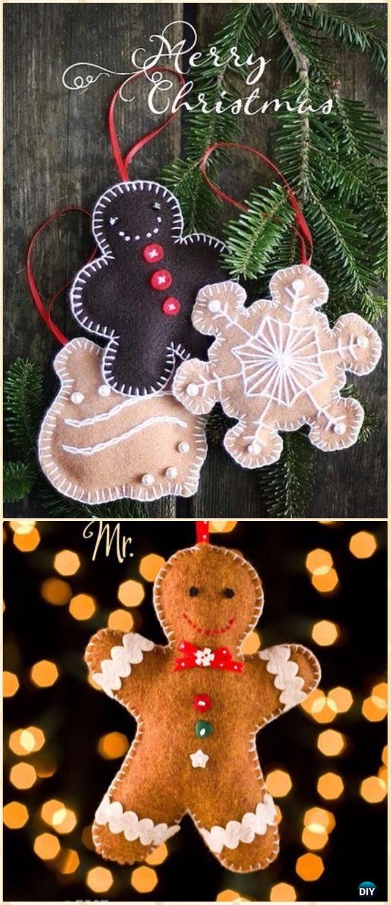 DIY Felt Gingerbread man Ornament Instructions - DIY Felt Christmas Ornament Craft Projects [Picture Instructions]