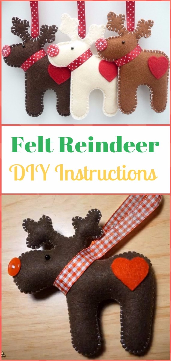 DIY Felt Reindeer Instructions - DIY Felt Christmas Ornament Craft Projects [Picture Instructions]