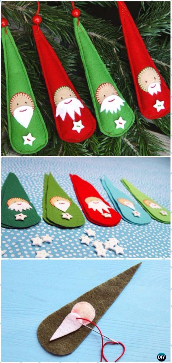 DIY Last Minute Felt Santa Ornament Instructions - DIY Felt Christmas Ornament Craft Projects [Picture Instructions]