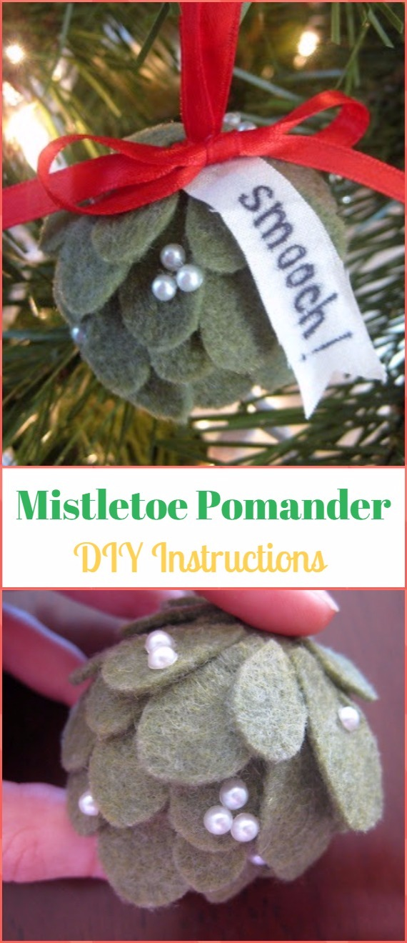 DIY Mini Felt Mistletoe Pomanders Instructions - DIY Felt Christmas Ornament Craft Projects [Picture Instructions]