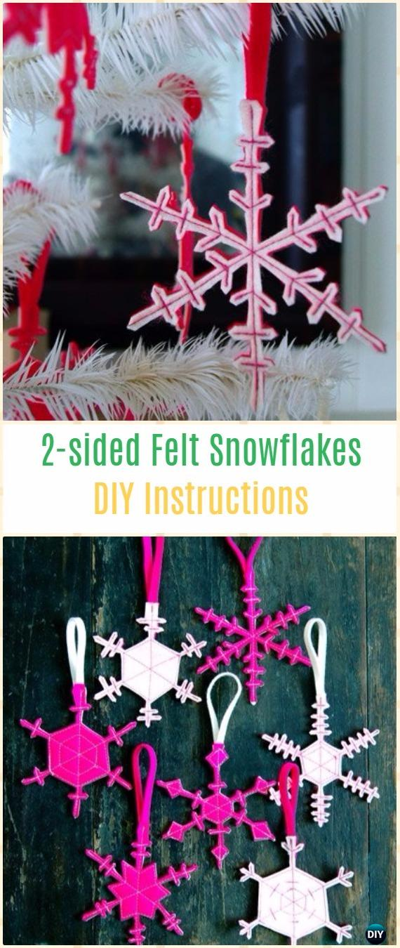 DIY Two Sided Felt Snowflakes Instructions - DIY Felt Christmas Ornament Craft Projects [Picture Instructions]