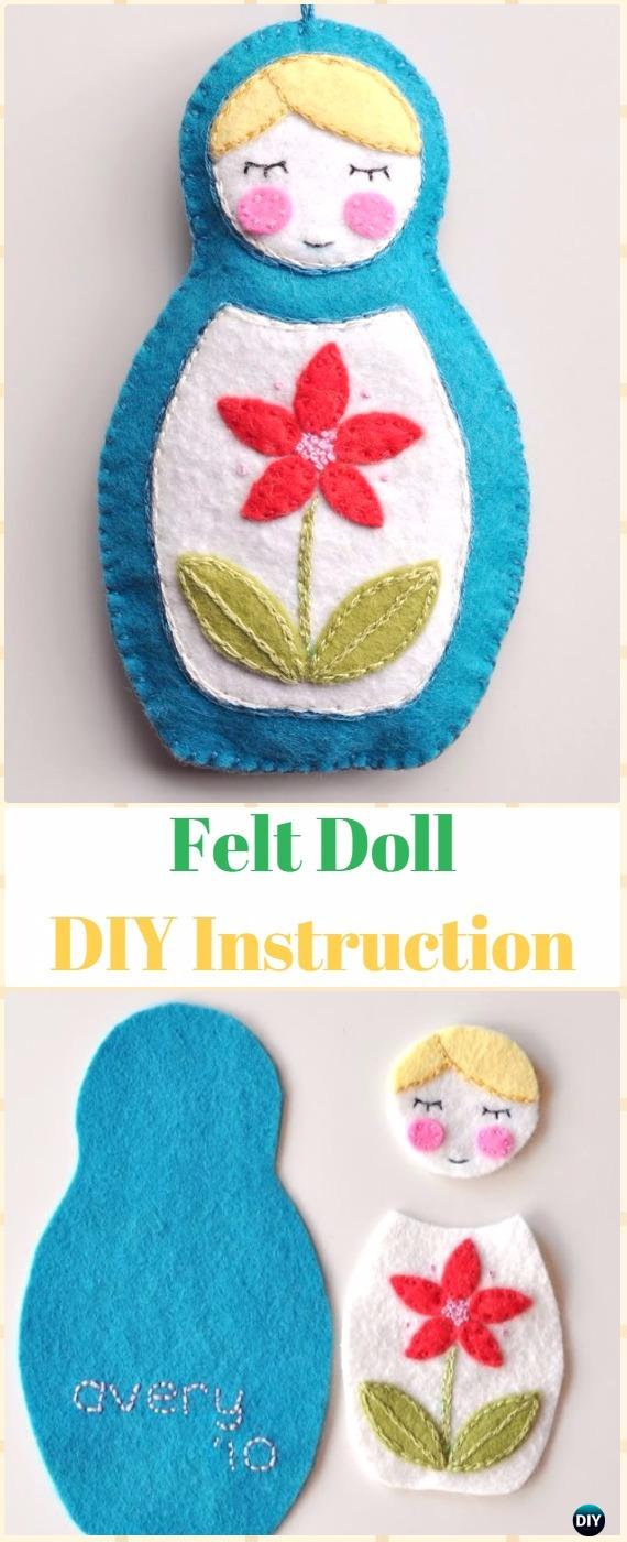 DIY Felt Matryoshka Doll Ornament Instructions - DIY Felt Christmas Ornament Craft Projects [Picture Instructions]
