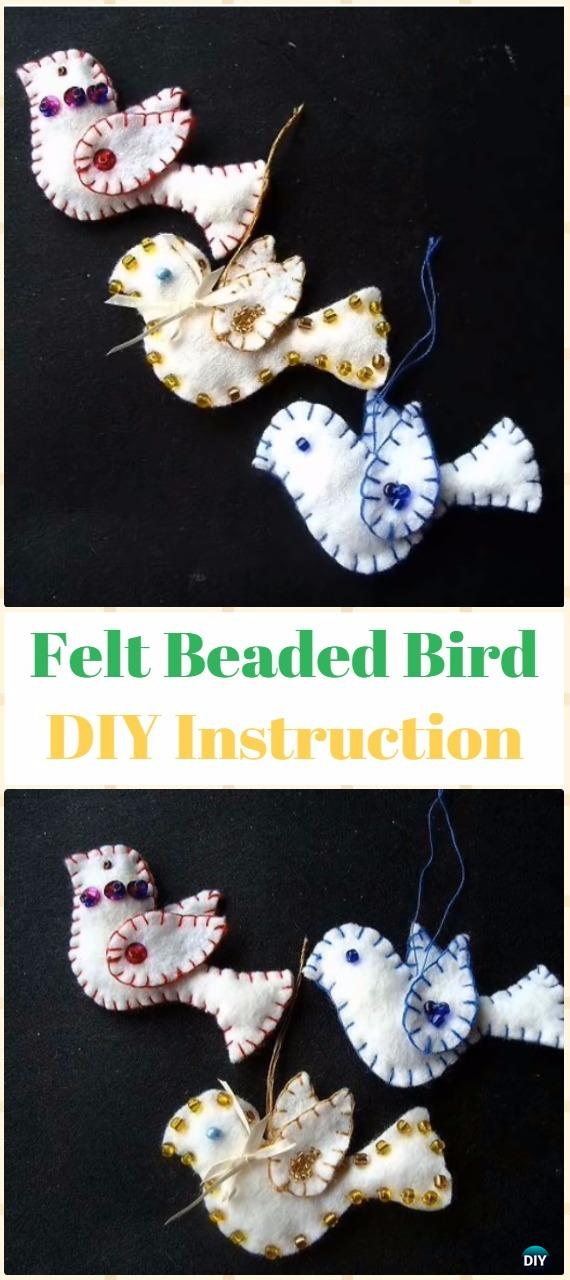DIY Felt Beaded Bird Ornament Instructions - DIY Felt Christmas Ornament Craft Projects [Picture Instructions]
