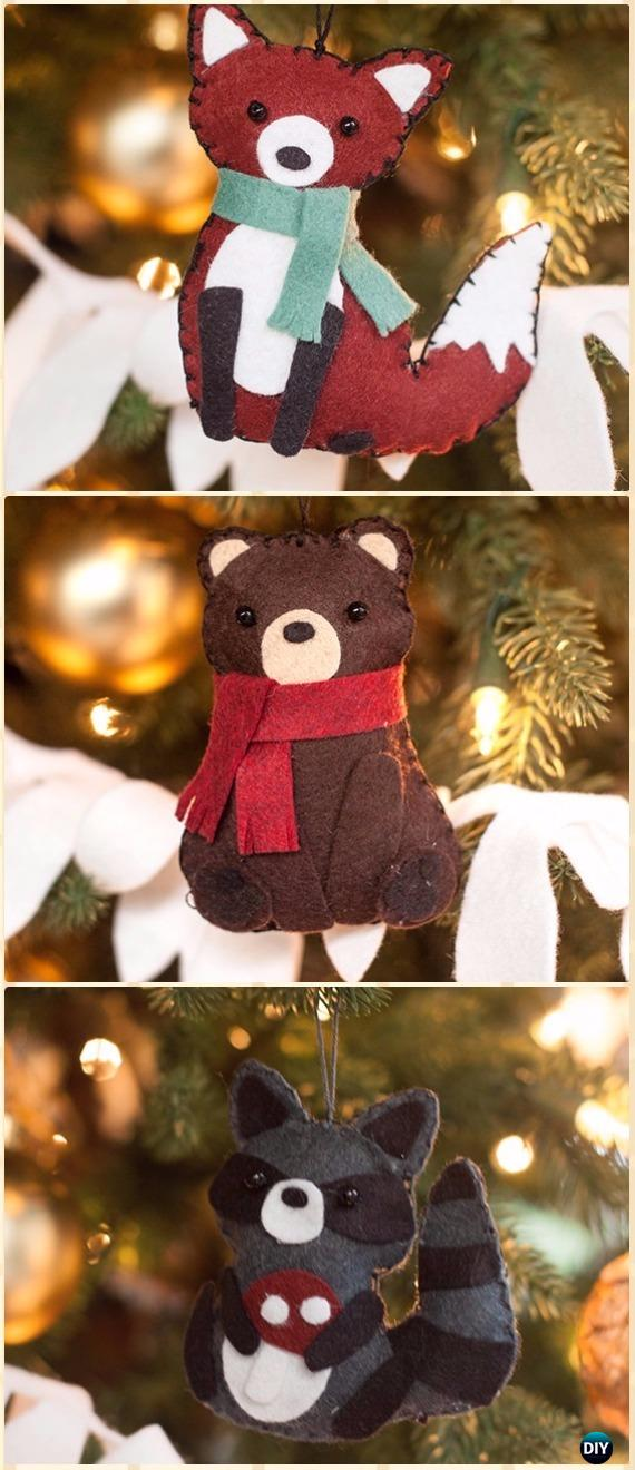 DIY Felt Woodland Animals Ornament Instructions - DIY Felt Christmas Ornament Craft Projects [Picture Instructions]