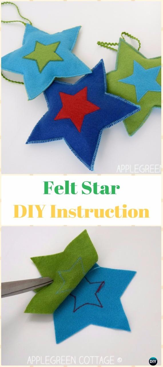 DIY Felt Star Ornament Instructions - DIY Felt Christmas Ornament Craft Projects [Picture Instructions]