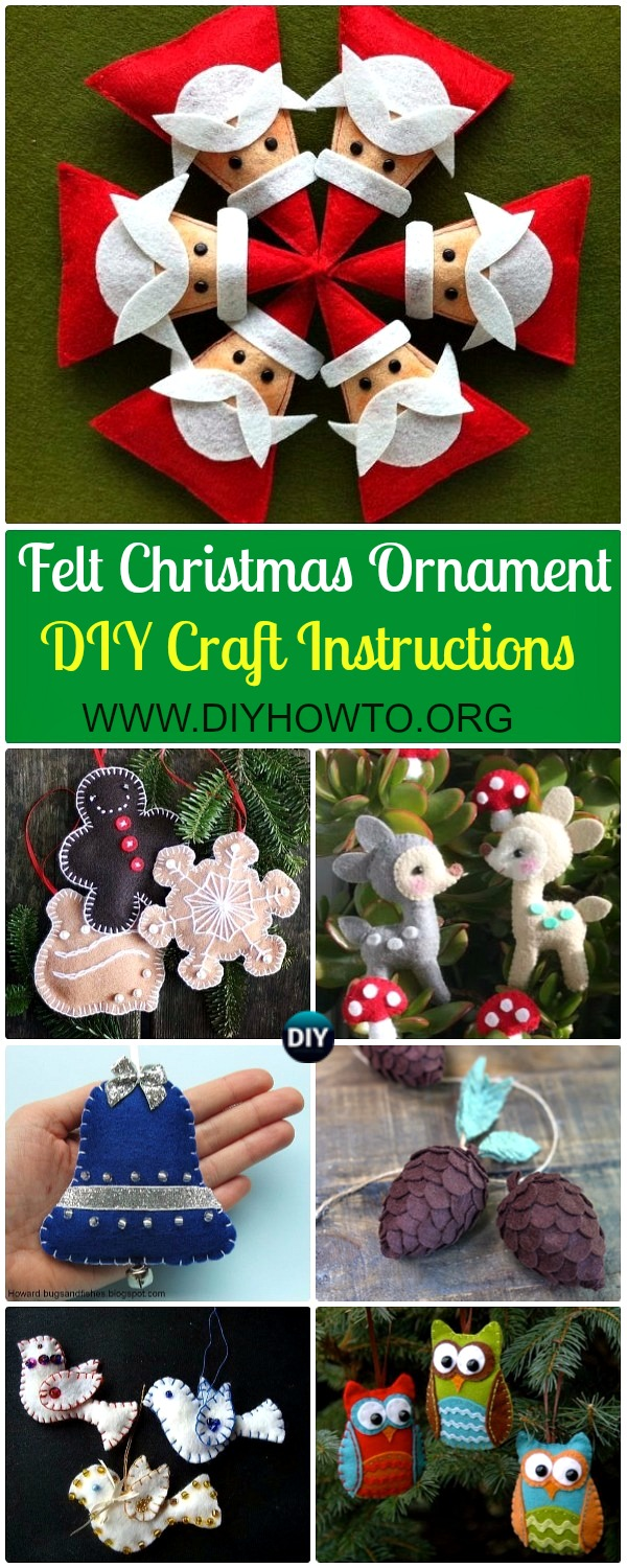 Collection of DIY Felt Christmas Ornament Craft Projects Instructions: Felt Christmas Craft ideas, kids felt projects, Christmas felt ornament decorating DIY tutorials