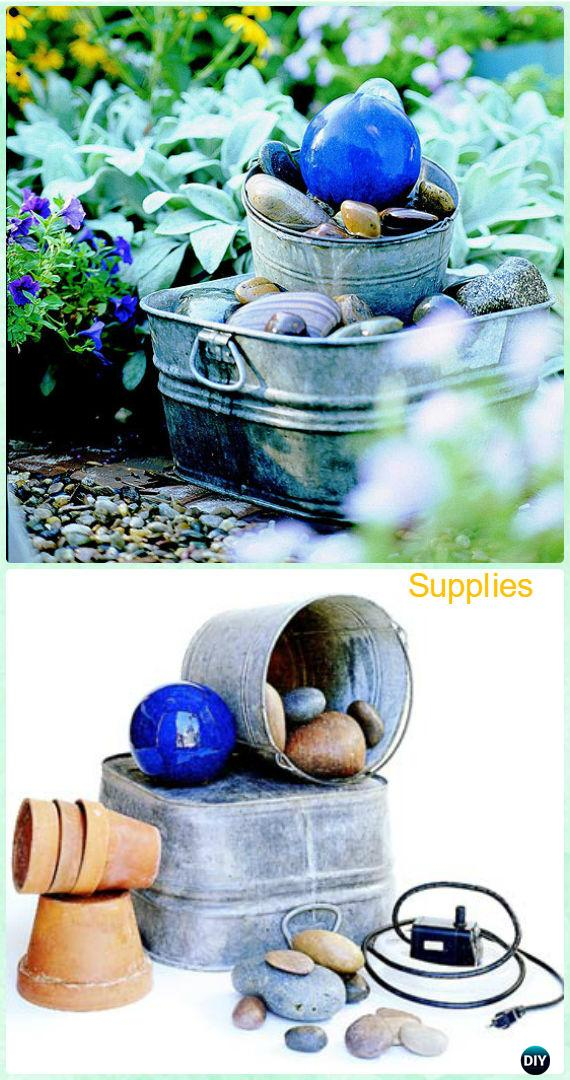 DIY Gazing Ball Bubbler Fountain Instruction - DIY Fountain Landscaping Ideas & Projects