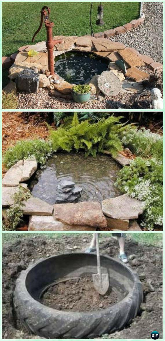 DIY Tire Pond Instruction - DIY Fountain Landscaping Ideas & Projects