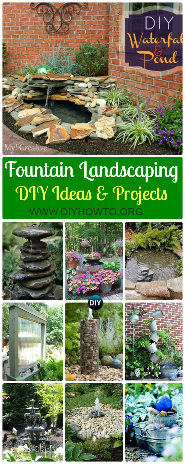 Collection of DIY Garden Fountain Landscaping Ideas & Projects: Outdoor Fountain DIY projects, built in fountain and water features tutorials