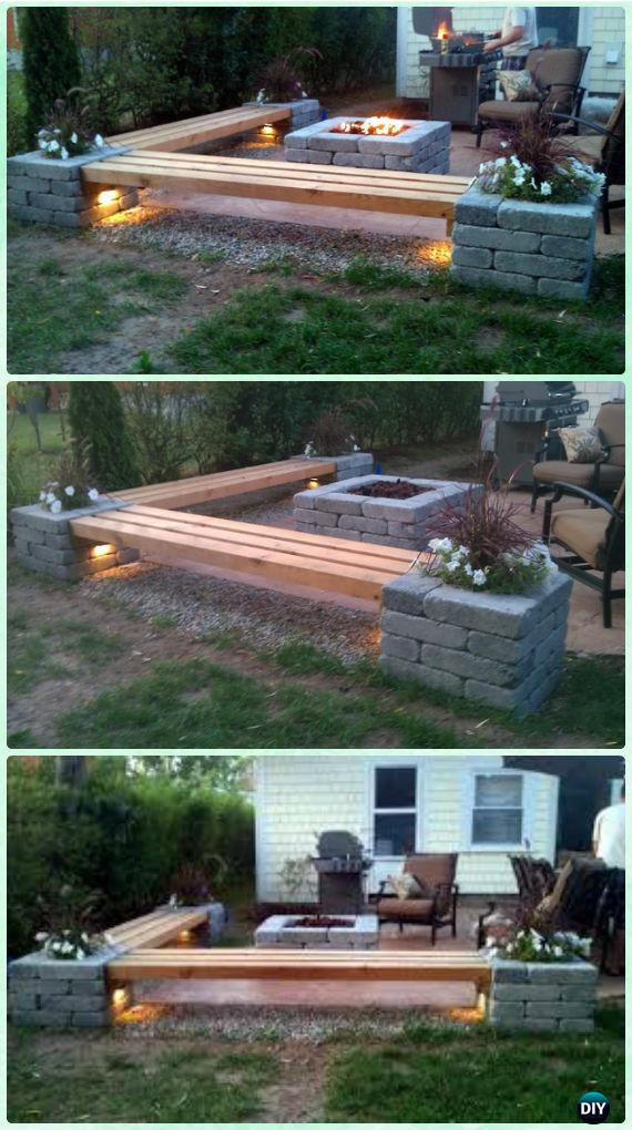 DIY Propane fire pit & Corner benches with landscape lighting and pillars  with planters - DIY Garden Firepit Patio Projects [Free Plans]