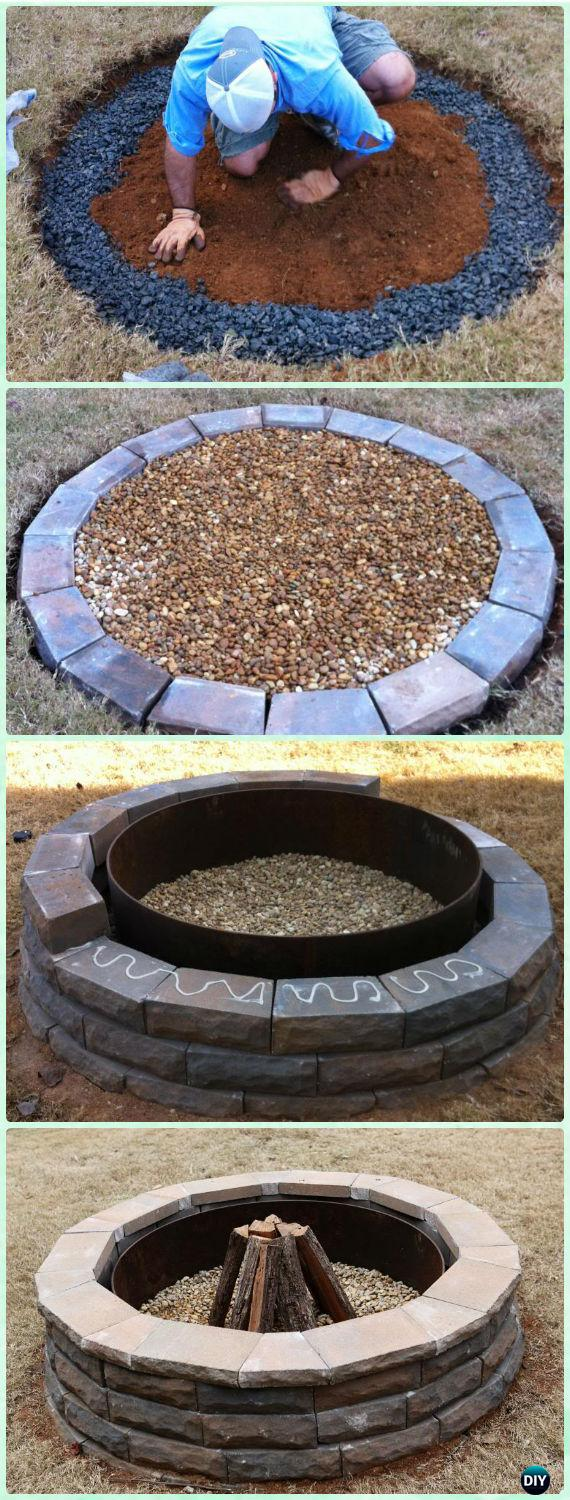 DIY Sturdy Block and Gravel Firepit Instruction - DIY Garden Firepit Patio Projects [Free Plans]