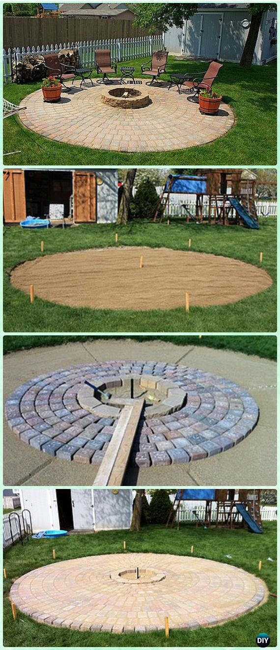 DIY Paved Brick Patio with Firepit Instruction - DIY Garden Firepit Patio Projects [Free Plans]