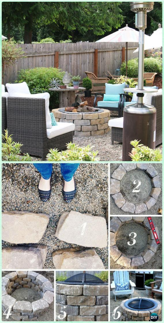 DIY Easy Firepit Instruction [Video] - DIY Garden Firepit Patio Projects [Free Plans]