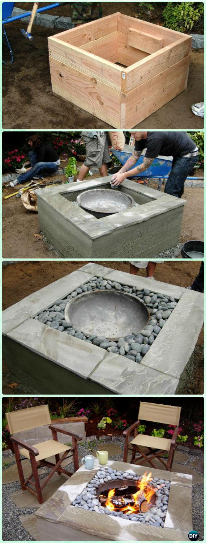 DIY Concrete Firepit Instruction - DIY Garden Firepit Patio Projects [Free Plans]