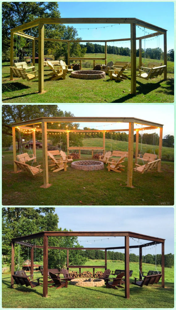 DIY Pergola Firepit With Swing Instruction- DIY Garden Firepit Patio Projects [Free Plans]