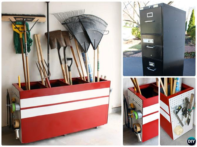 DIY File Cabinet Garden Tool Storage Box Instruction-DIY Garden Tool Organizer Ideas