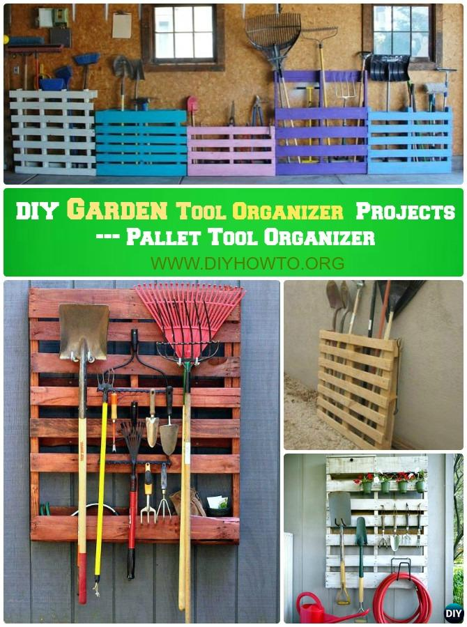 DIY Pallet Garden Tool Rack Organizer Instruction-DIY Garden Tool Organizer Ideas