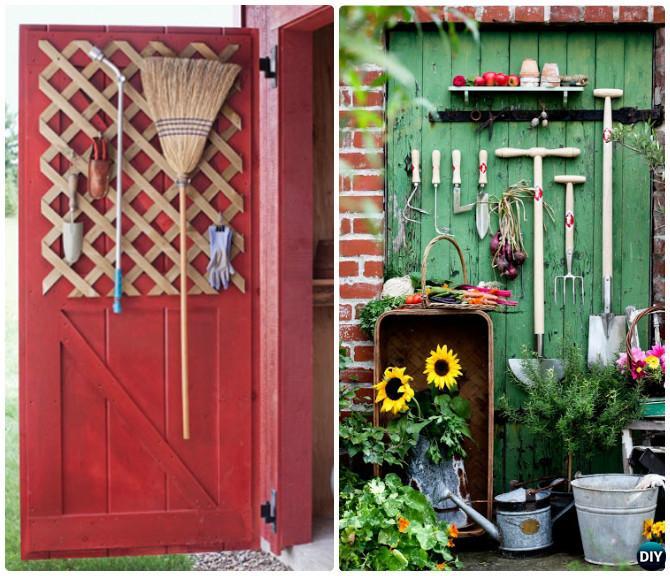 DIY Door Garden Tool Organizer Instruction-DIY Garden Tool Organizer Ideas
