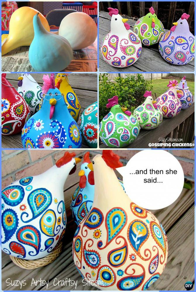 DIY Gossip Paisley Painted Gourd Chicken Instruction-DIY Gourd Craft Projects
