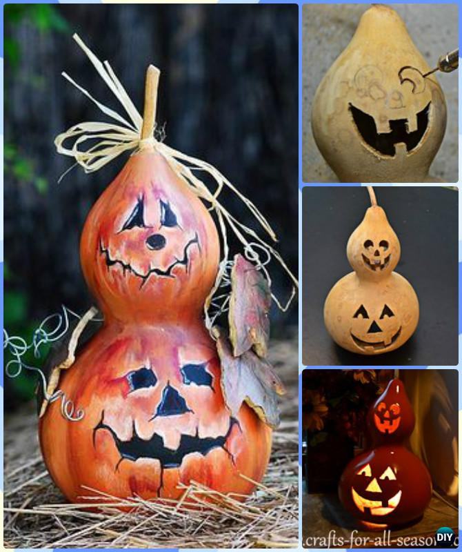 DIY Halloween Gourd Jack-o-Lantern Instruction-DIY Gourd Craft Projects