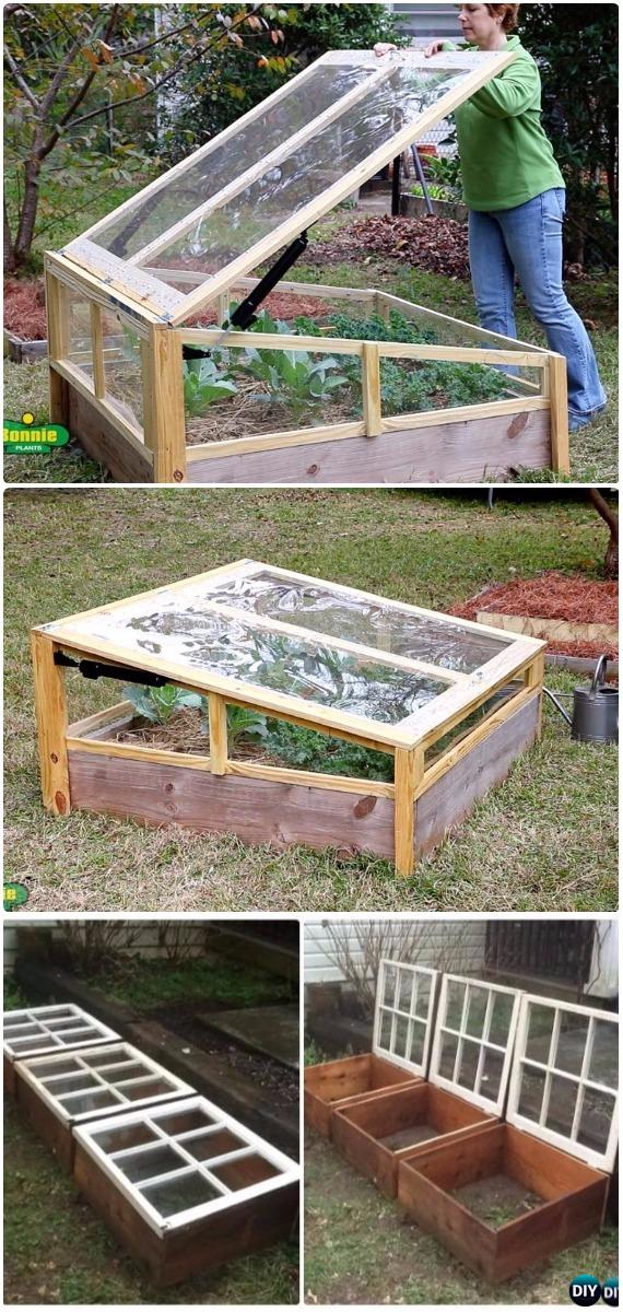DIY Portable Window Cold Frame Greenhouse Instructions -18 DIY Green House Projects Instructions