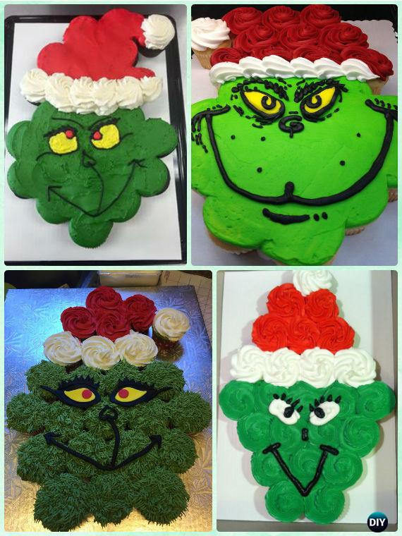 DIY Grinch Pull Apart Christmas Cupcake Cake Design Ideas